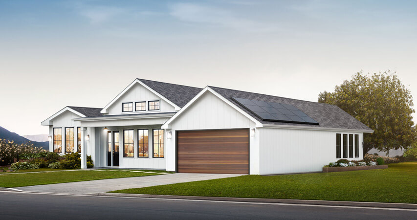 экологичный дом с крышой от Тесла